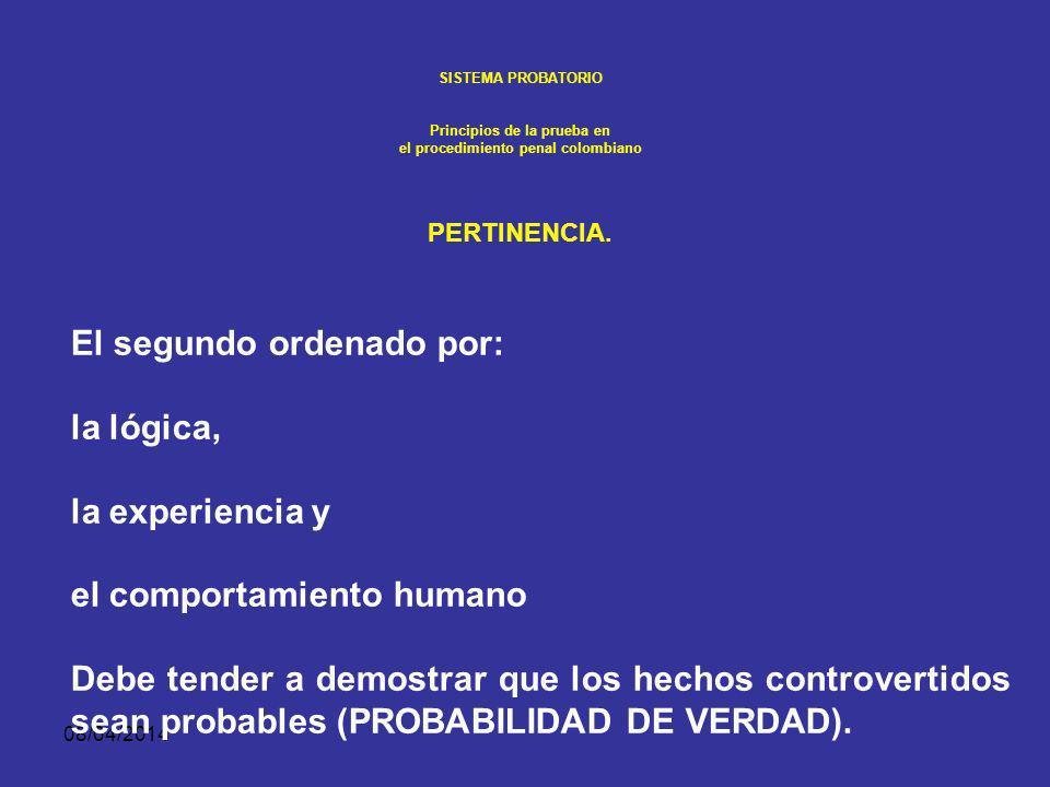 08/04/2014 SISTEMA PROBATORIO Principios de la prueba en el procedimiento penal colombiano PERTINENCIA. El primero relativo a la ley sustancial impone