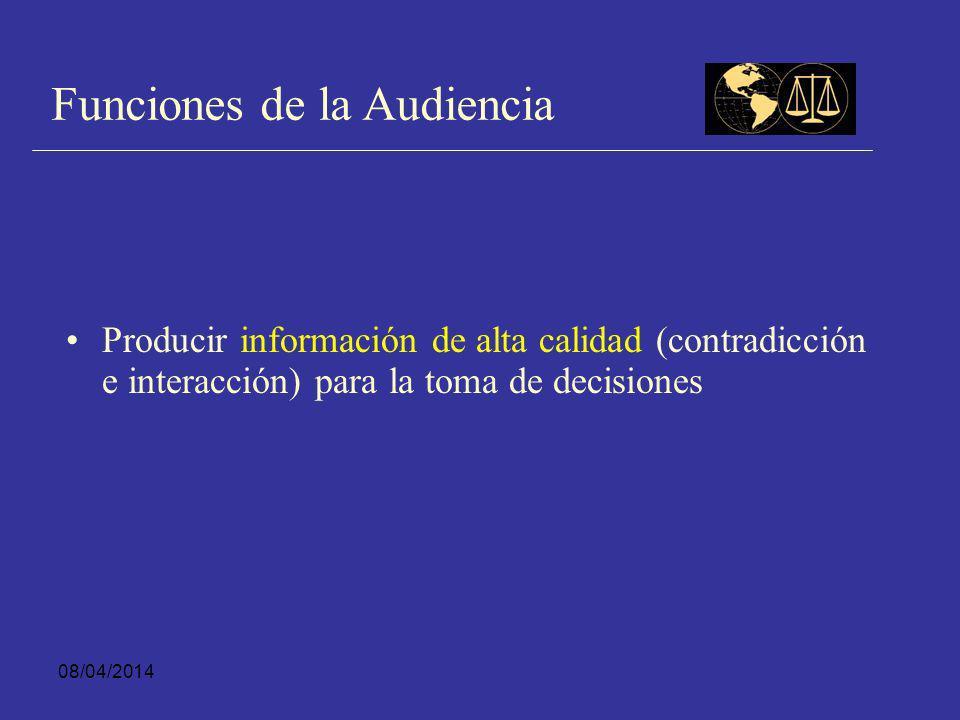 08/04/2014 Idea Central Audiencia Esta metodología opera sobre la base de reunir a los actores involucrados y permitir que en presencia de ellos se genere un intercambio verbal de información relevante para la decisión que se discute.