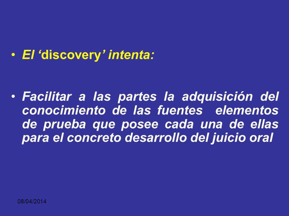 08/04/2014 El descubrimiento ha sido un instituto propio del proceso angloamericano. Su introducción en el proceso penal es reciente, Los datos histór