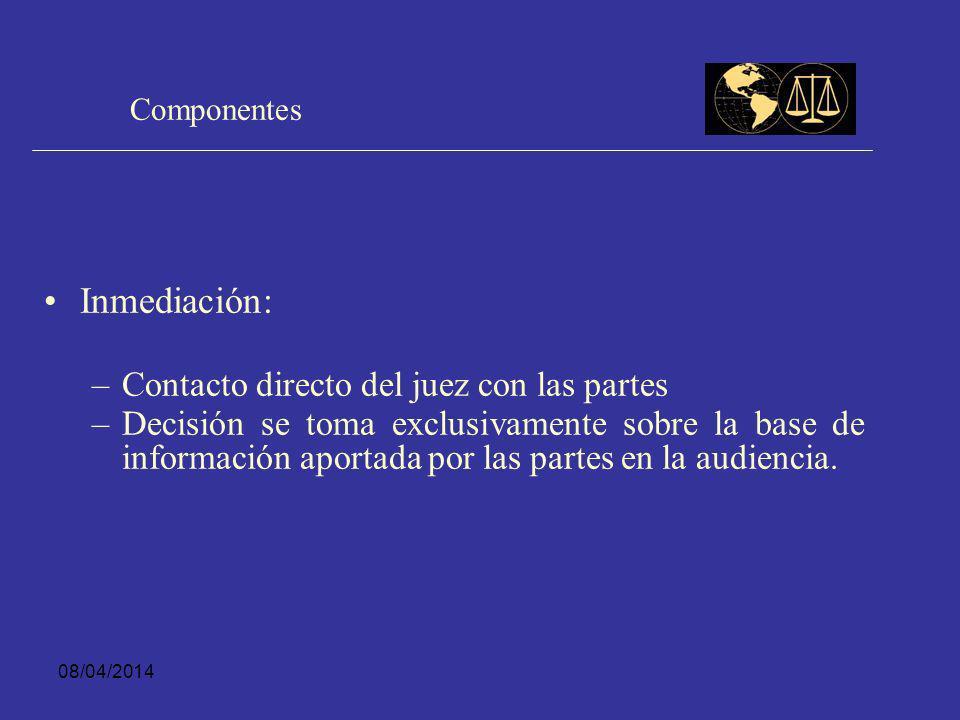 08/04/2014 Componentes Oralidad: – –Forma de comunicación entre las partes y formato de entrega de información – –Expresión verbal no es oralidad efec