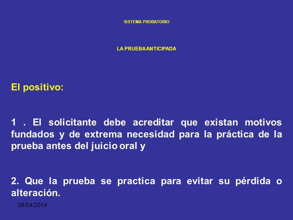 08/04/2014 SISTEMA PROBATORIO LA PRUEBA ANTICIPADA Admisibilidad. El juez de garantías debe realizar un doble juicio de admisibilidad, uno positivo y