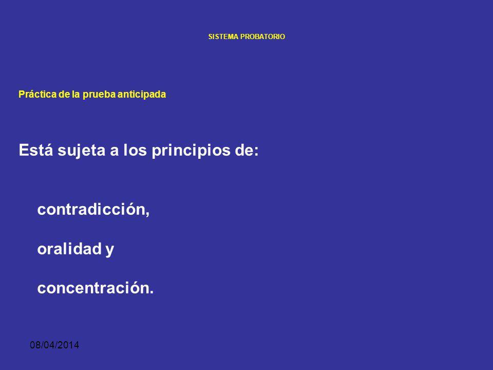 08/04/2014 SISTEMA PROBATORIO LA PRUEBA ANTICIPADA Práctica de la prueba anticipada Admitida la prueba anticipada por el juez, su práctica es igual a