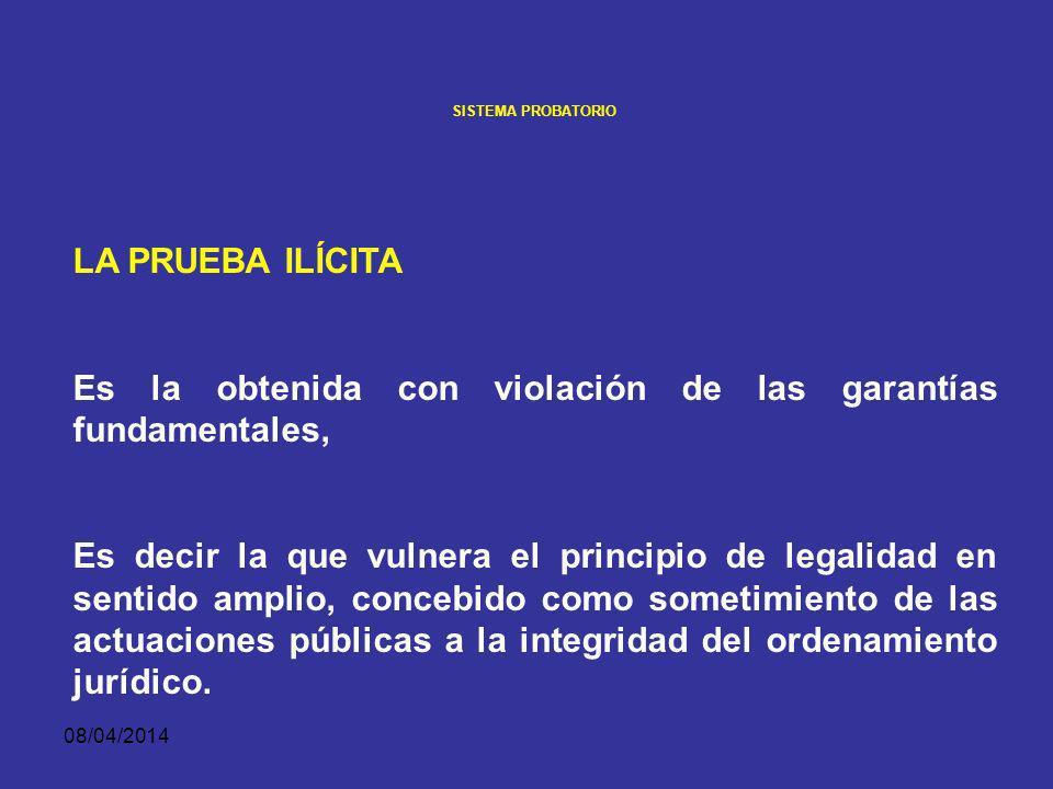 08/04/2014 SISTEMA PROBATORIO LA PRUEBA ILÍCITA