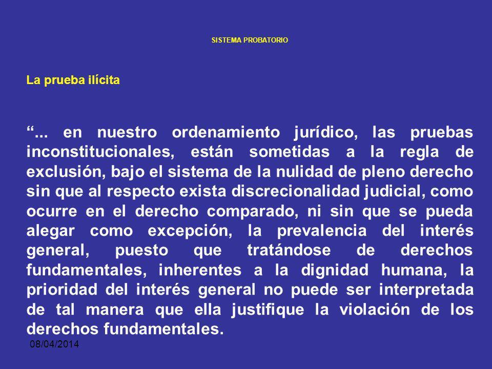 08/04/2014 SISTEMA PROBATORIO La prueba ilícita: La prueba ilícita por previsión constitucional, es nula de pleno derecho (art. 29 constitucional) Por
