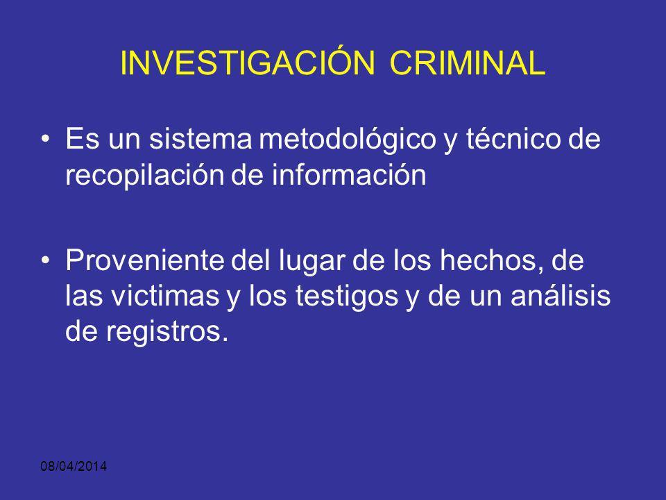 08/04/2014 INVESTIGACION CRIMINAL Disciplina que procede con metodología científica. Se orienta hacia el reconocimiento, identificación e individualiz