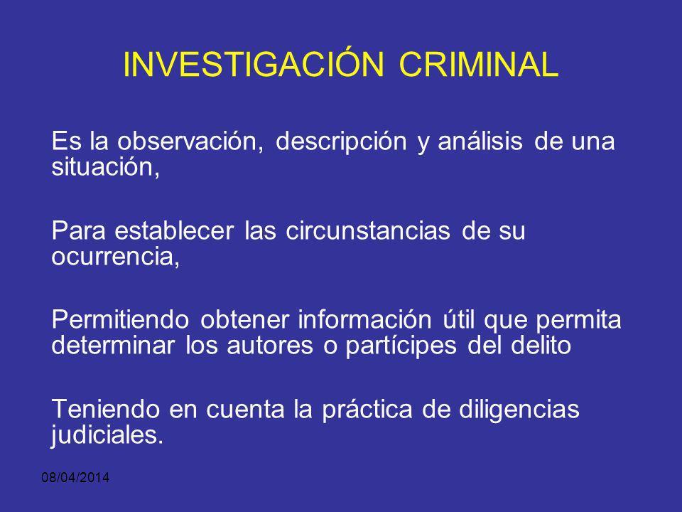 08/04/2014 INVESTIGACIÓN CRIMINAL Es un sistema metodológico y técnico de recopilación de información Proveniente del lugar de los hechos, de las victimas y los testigos y de un análisis de registros.