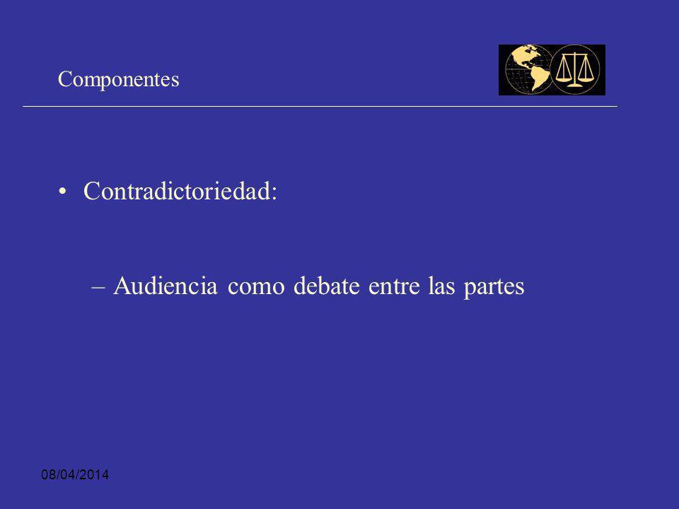 08/04/2014 Componentes Publicidad: – –Posibilidad que cualquier persona pueda presenciar audiencias