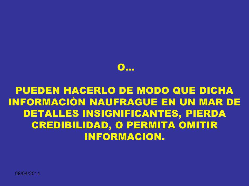 08/04/2014 1. LOS LITIGANTES PUEDEN PRESENTARLA DE MANERA QUE REVELE EN TODA SU PLENITUD LA INFORMACIÒN QUE POSEE