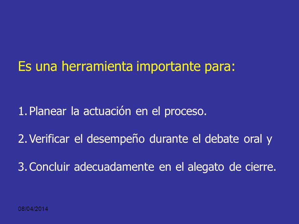 08/04/2014 QUE ES LA TEORIA DEL CASO Es el planteamiento que la acusación o la defensa hace al juez o jurado sobre: 1.Los hechos penalmente relevantes.