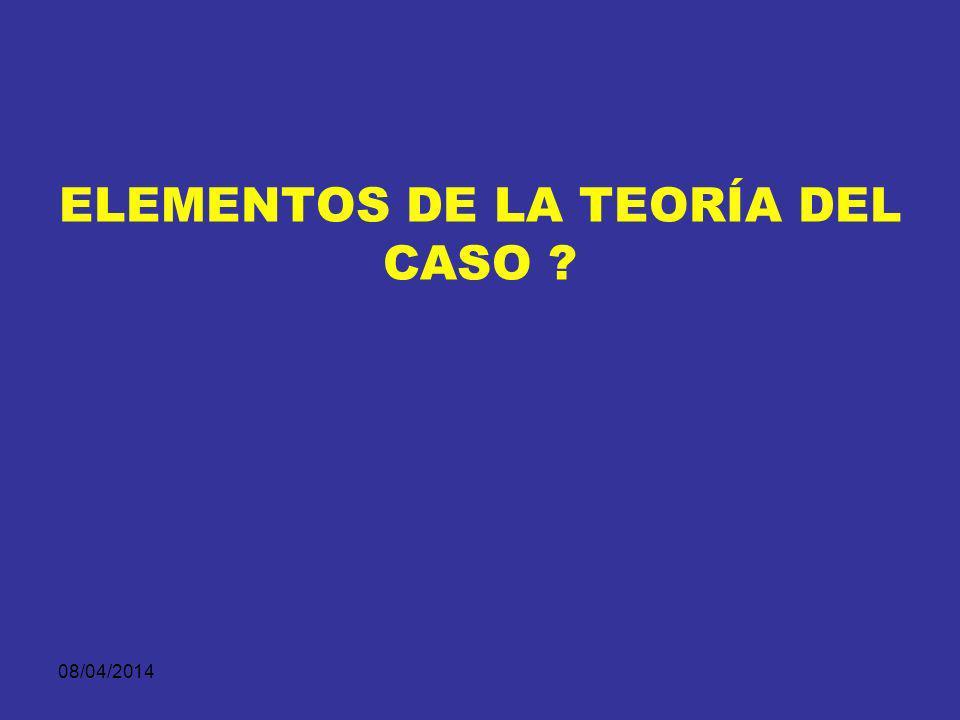 08/04/2014 ¿PARA QUE SIRVE LA TEORIA DEL CASO? 1.Dirigir la investigación – fiscales y defensores. 2.Planificar y ejecutar la recoleccion de medios de