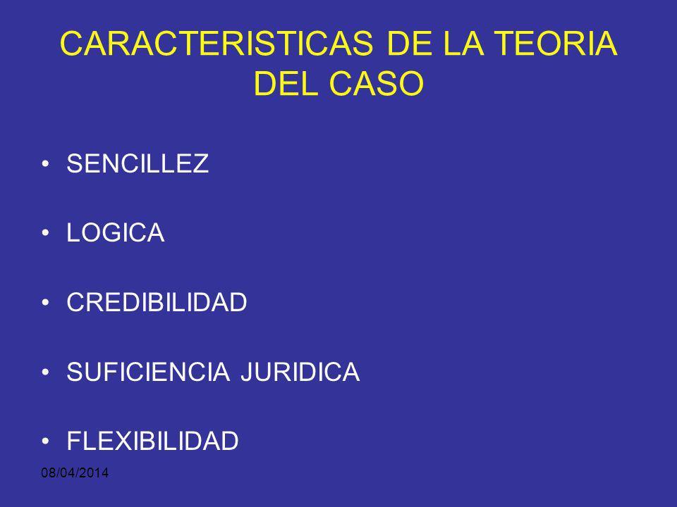 08/04/2014 ESENCIA DE LA TEORÍA DEL CASO De modo que permita: Construir una historia con significado penal relevante, Para determinar la responsabilid