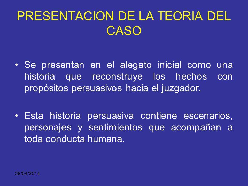 08/04/2014 PRESENTACION DE LA TEORIA DEL CASO?