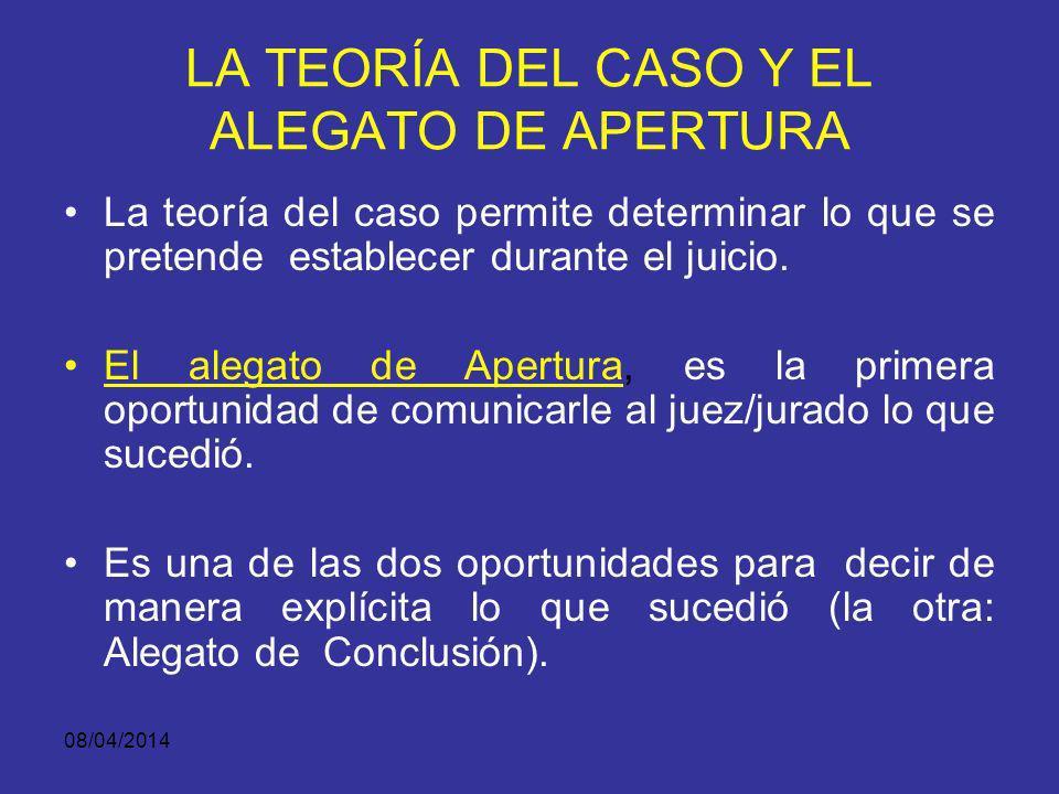 08/04/2014 PRESENTACION DE LA TEORIA DEL CASO Se presentan en el alegato inicial como una historia que reconstruye los hechos con propósitos persuasiv