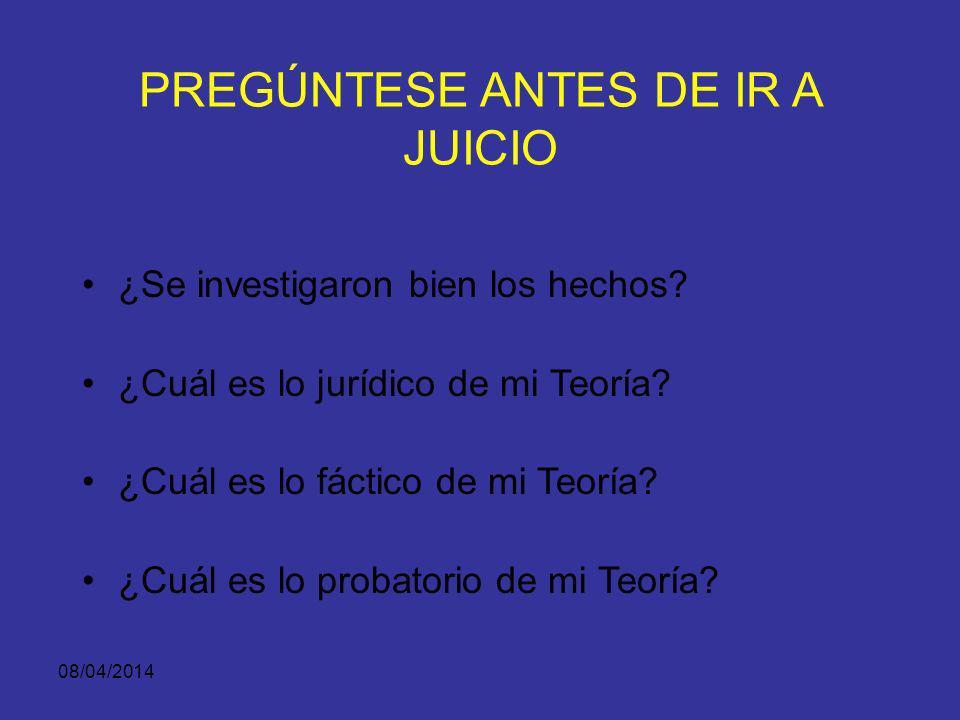 08/04/2014 TEORÍA DEL CASO Y LA PRÁCTICA DE LA PRUEBA: –La importancia de solicitar y practicar pruebas es para fortalecer la teoría del caso, y no pa