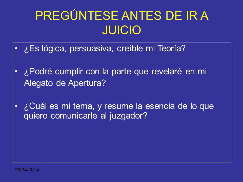 08/04/2014 PREGÚNTESE ANTES DE IR A JUICIO ¿Se investigaron bien los hechos? ¿Cuál es lo jurídico de mi Teoría? ¿Cuál es lo fáctico de mi Teoría? ¿Cuá