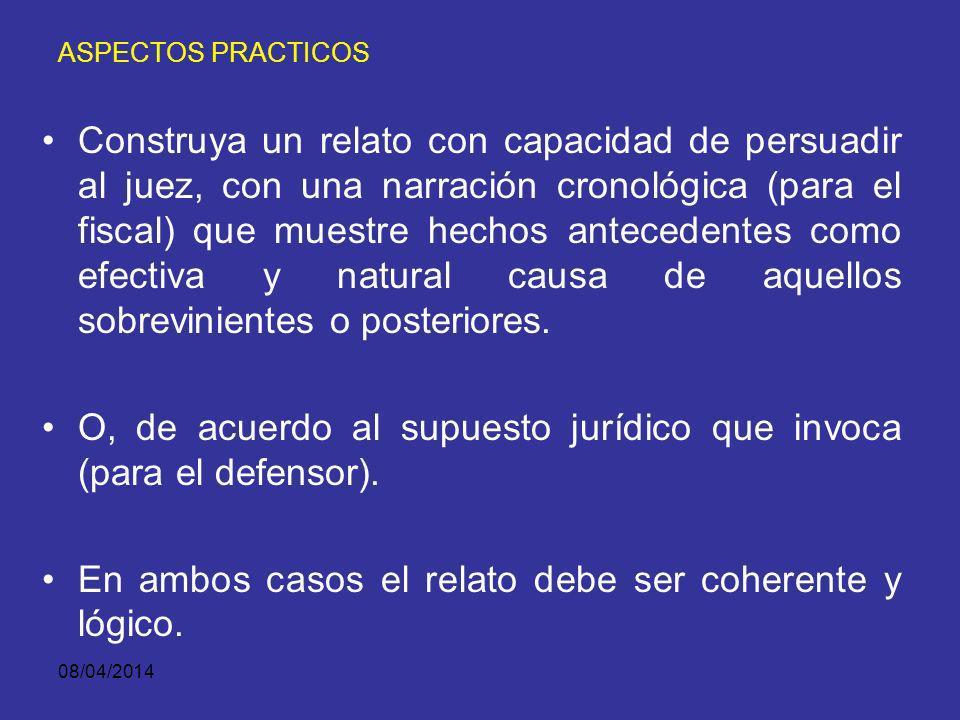 08/04/2014 ASPECTOS PRACTICOS Analice y revise los medios de prueba propios y los de la contraparte, para descubrir sus fortalezas y debilidades y así