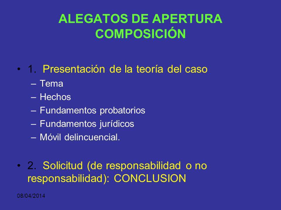 08/04/2014 ALEGATOS DE APERTURA CARACTERÍSTICAS Se sustenta la teoría del caso Es una promesa demostrativa, no emotiva (argumentación) En forma afirma