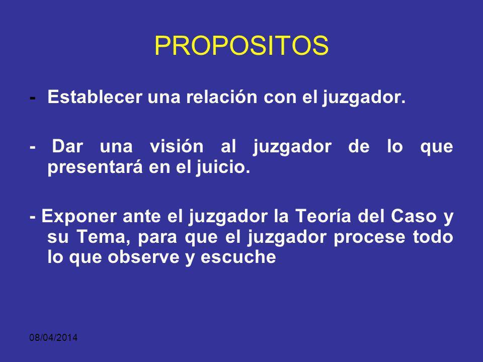 08/04/2014 DEFINICIÓN La intervención directa del Fiscal frente al juzgador (bien sea el juez o los jurados) al principio del juicio.