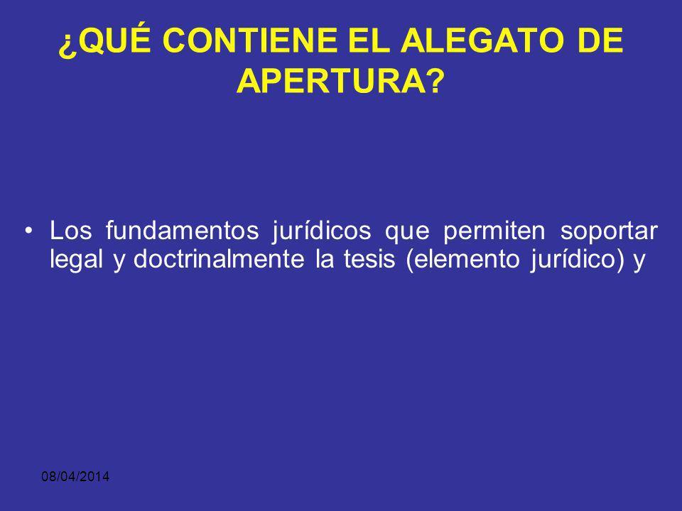 08/04/2014 ¿QUÉ CONTIENE EL ALEGATO DE APERTURA? El alegato de apertura contiene todos los elementos de la teoría del caso: Una narración persuasiva d