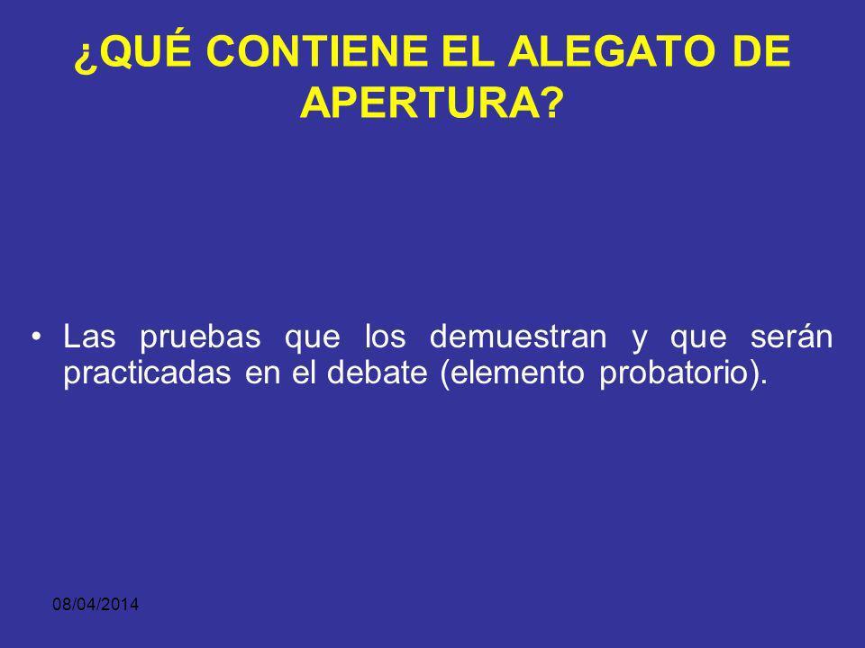08/04/2014 ¿QUÉ CONTIENE EL ALEGATO DE APERTURA? Los fundamentos jurídicos que permiten soportar legal y doctrinalmente la tesis (elemento jurídico) y