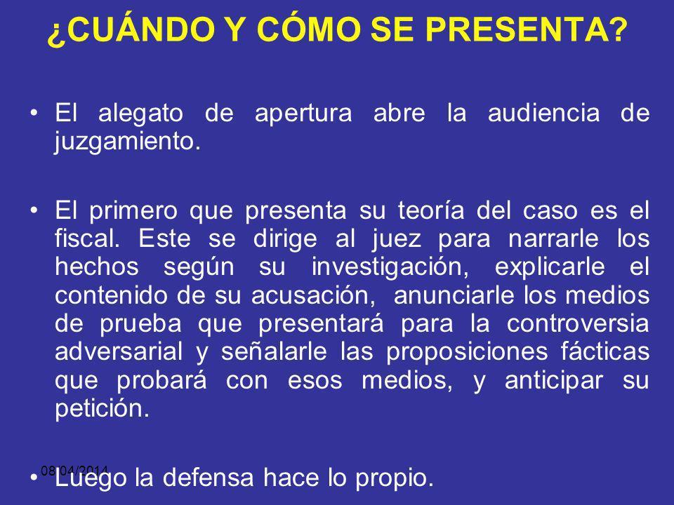 08/04/2014 ¿QUÉ CONTIENE EL ALEGATO DE APERTURA? Las pruebas que los demuestran y que serán practicadas en el debate (elemento probatorio).