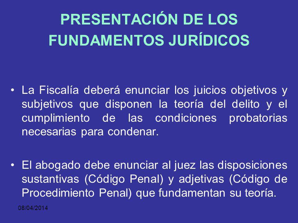 08/04/2014 PRESENTACIÓN DE LOS HECHOS El alegato de apertura es una introducción al juicio, una presentación de lo que se debatirá y del criterio con