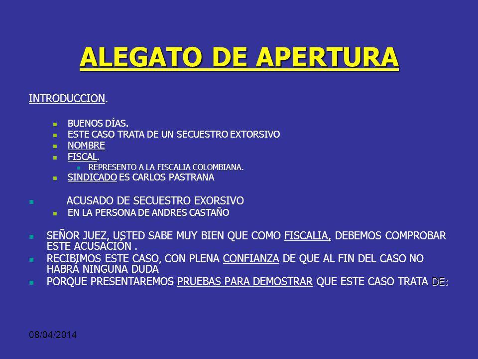 08/04/2014 RECUERDE... Concluya su alegato con: Una petición concreta, Completa y Clara sobre lo usted quiere que sea el fallo del juez.