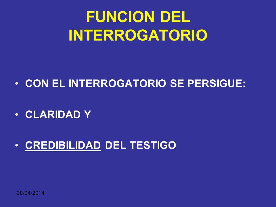 08/04/2014 FUNCION DEL INTERROGATORIO EFECTIVIDAD. –CONCISO –PRECISO –EVITAR INFORMACION SUPERFLUA. LOGICA. –RELATO COHERENTE DE LOS HECHOS –DESTACAR
