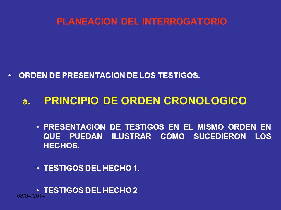 08/04/2014 PLANEACION DEL INTERROGATORIO 1. ORDEN DE PRESENTACION DE LOS TESTIGOS. –PRINCIPIO DE ORDEN CRONOLOGICO –PRINCIPIO DEL TESTIMONIO MAS CREIB