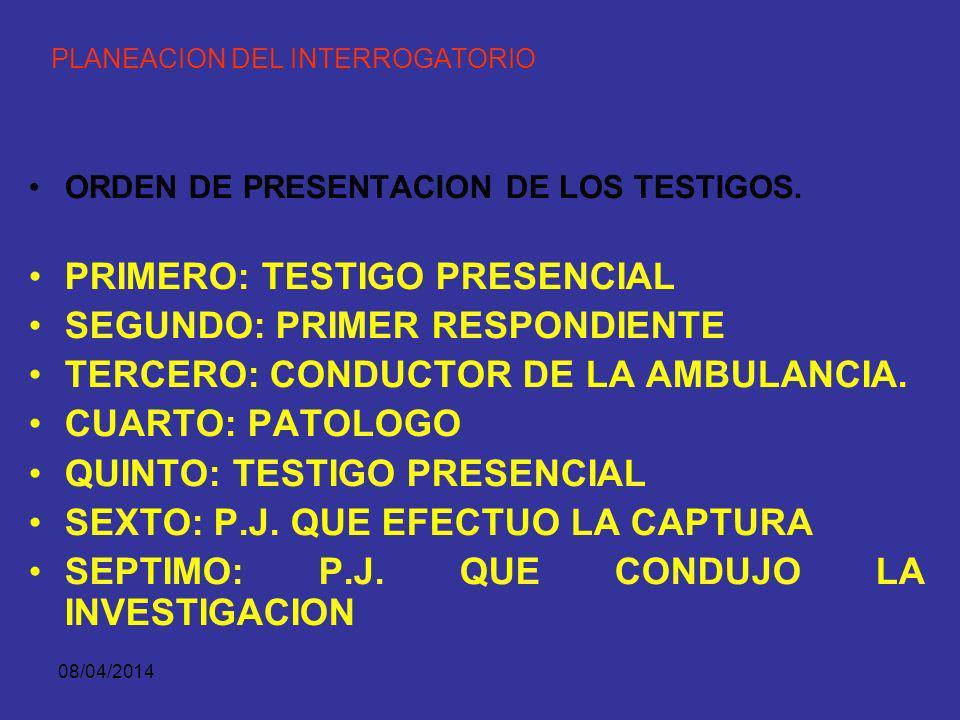 08/04/2014 PLANEACION DEL INTERROGATORIO ORDEN DE PRESENTACION DE LOS TESTIGOS. d. PRINCIPIO DE ADECUACION AL TIPO DE TRIBUNAL METODO QUE TIENE ORIENT