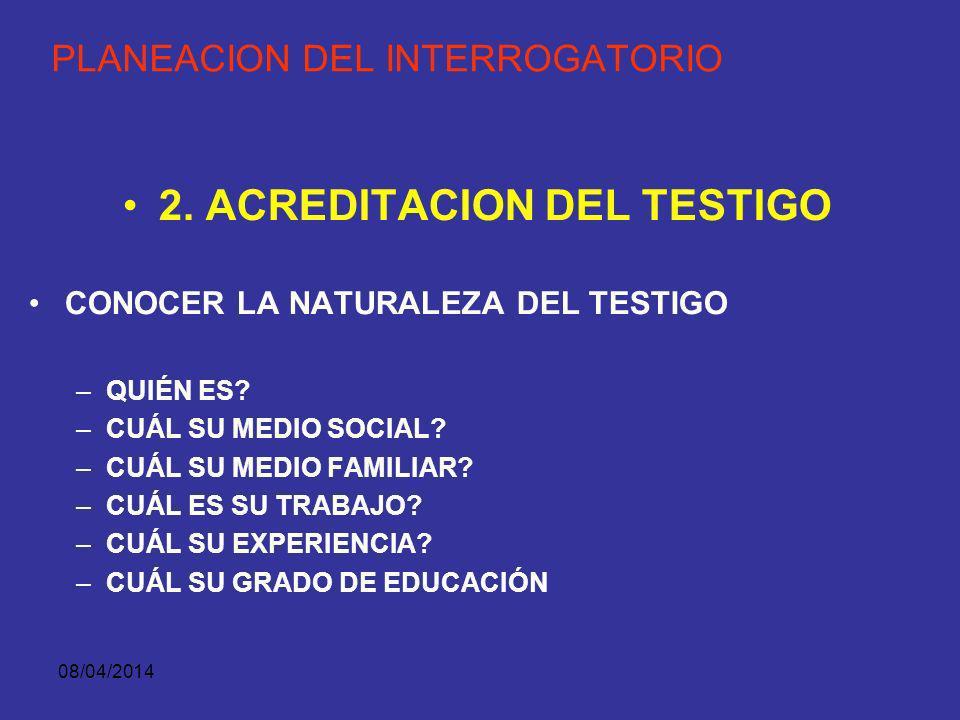 08/04/2014 PLANEACION DEL INTERROGATORIO ORDEN DE PRESENTACION DE LOS TESTIGOS. PRIMERO: TESTIGO PRESENCIAL SEGUNDO: PRIMER RESPONDIENTE TERCERO: COND