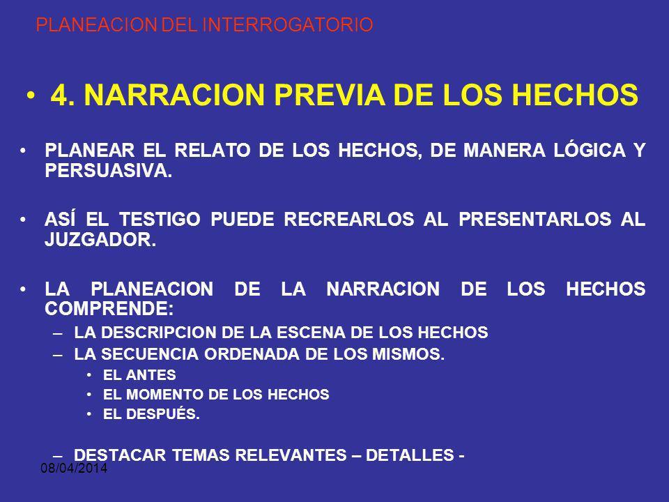 08/04/2014 PLANEACION DEL INTERROGATORIO 3. ILUSTRACION AL TESTIGO RECOMENDACIONES PARA ILUSTRAR AL TESTIGO.