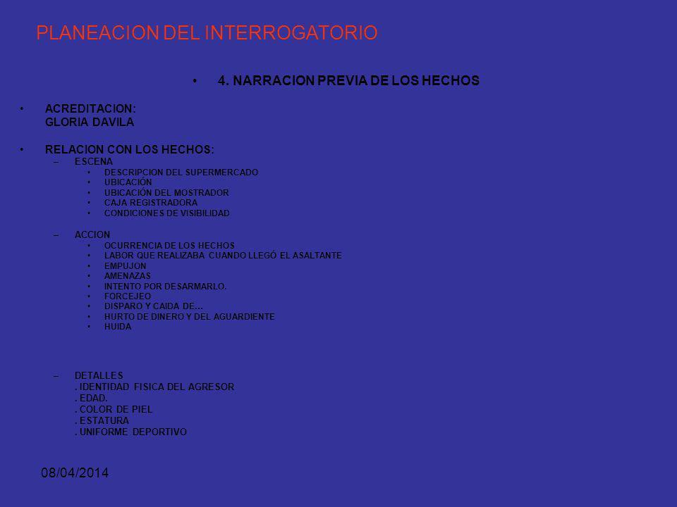 08/04/2014 PLANEACION DEL INTERROGATORIO 4. NARRACION PREVIA DE LOS HECHOS PLANEAR EL RELATO DE LOS HECHOS, DE MANERA LÓGICA Y PERSUASIVA. ASÍ EL TEST