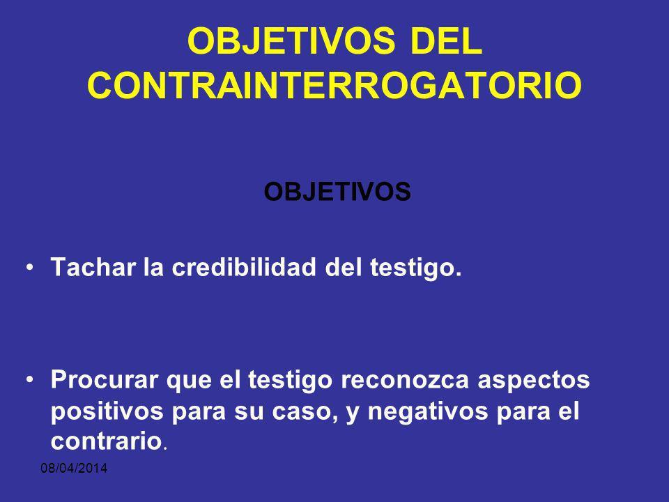 08/04/2014 CONTRAINTERROGATORIO Se realiza después del interrogatorio directo y es realizado por la parte contraria.