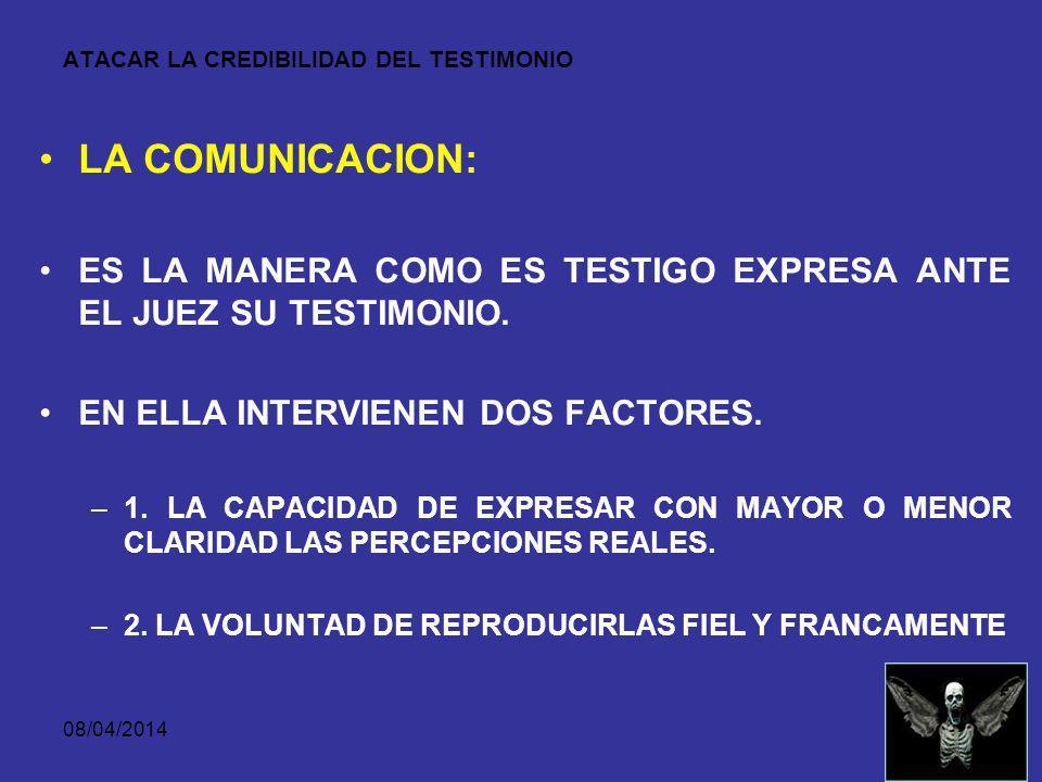 08/04/2014 ATACAR LA CREDIBILIDAD DEL TESTIMONIO LA MEMORIA: COMPRENDE LA CONSERVACION DE LAS IMPRESIONES SENSIBLES. LA REPRODUCCION DE LOS RECUERDOS.
