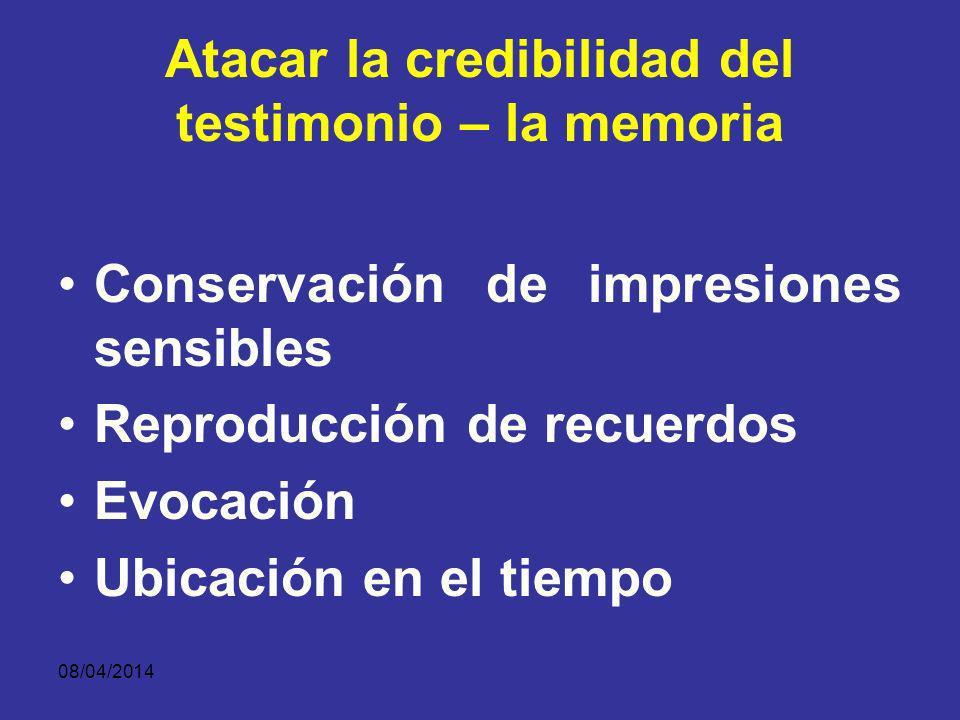08/04/2014 Atacar la credibilidad del testimonio – percepción CONDICIONES SUBJETIVAS TESTIGO FRENTE A DETERMINADO SUCESO Estado afectivo Interés Dispo