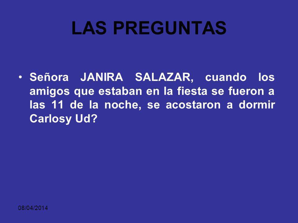 08/04/2014 LAS PREGUNTAS IMPERTINENTE: NO TIENE QUE VER CON LOS HECHOS RELEVANTES EN EL PROCESO.