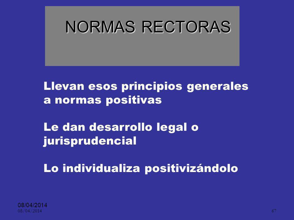 08/04/2014 66 PRINCIPIOS » Son el fundamento de un sistema Son Principios del derecho natural Se caracterizan esencialmente por ser el punto esencial
