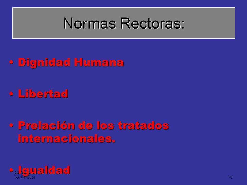 08/04/2014 69 Normas rectoras de Derecho Procesal Penal: –Obligatorias. –Prevalentes.