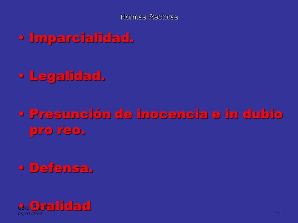 08/04/2014 70 Normas Rectoras: Dignidad HumanaDignidad Humana LibertadLibertad Prelación de los tratados internacionales.Prelación de los tratados int