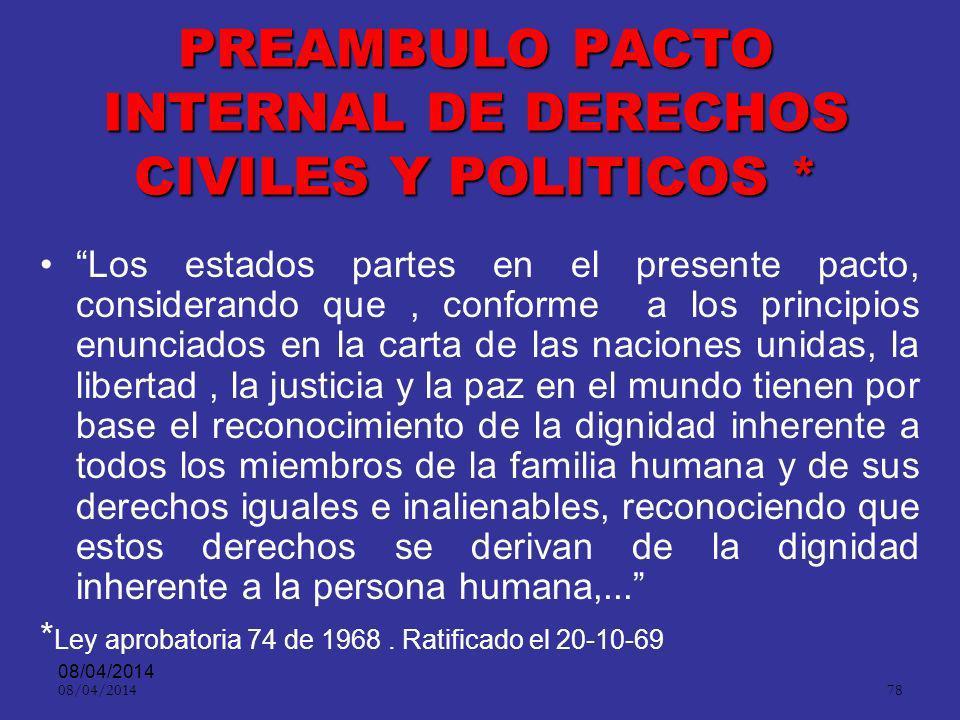 08/04/2014 77 CONVENCION AMERICANA DE DERECHOS HUMANOS O PACTO DE SAN JOSE* Art. 11 Protección de la honra y de la dignidad.- –1.-Toda persona tiene d