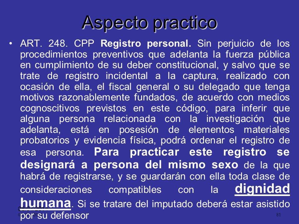 08/04/2014 80 Aspectos Prácticos: ART. 247.Inspección corporal. Cuando el fiscal general, o el fiscal tengan motivos razonablemente fundados, de acuer