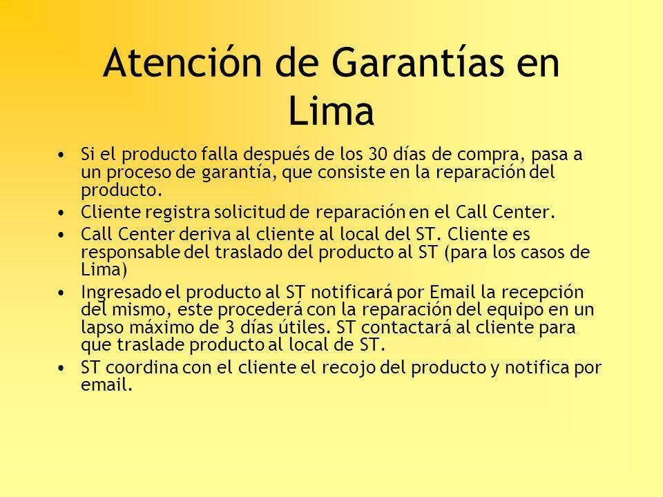 Atención de Garantías en Lima Si el producto falla después de los 30 días de compra, pasa a un proceso de garantía, que consiste en la reparación del