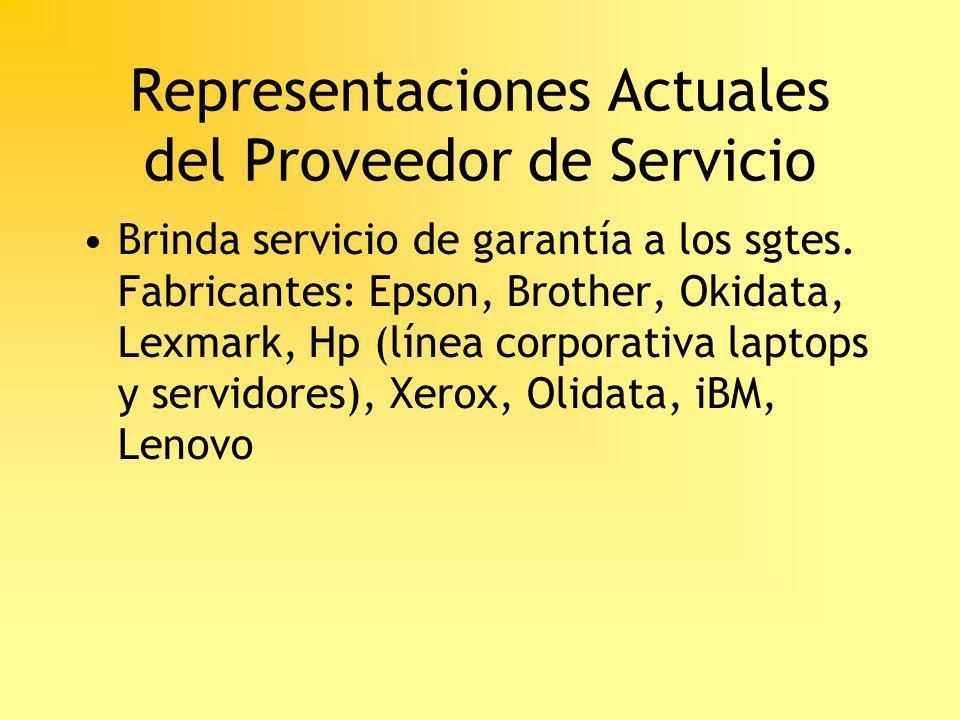 Representaciones Actuales del Proveedor de Servicio Brinda servicio de garantía a los sgtes. Fabricantes: Epson, Brother, Okidata, Lexmark, Hp (línea