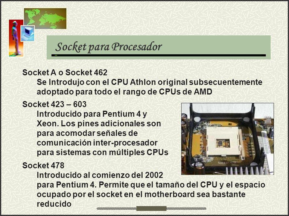 Socket para Procesador Socket A o Socket 462 Se Introdujo con el CPU Athlon original subsecuentemente adoptado para todo el rango de CPUs de AMD Socke