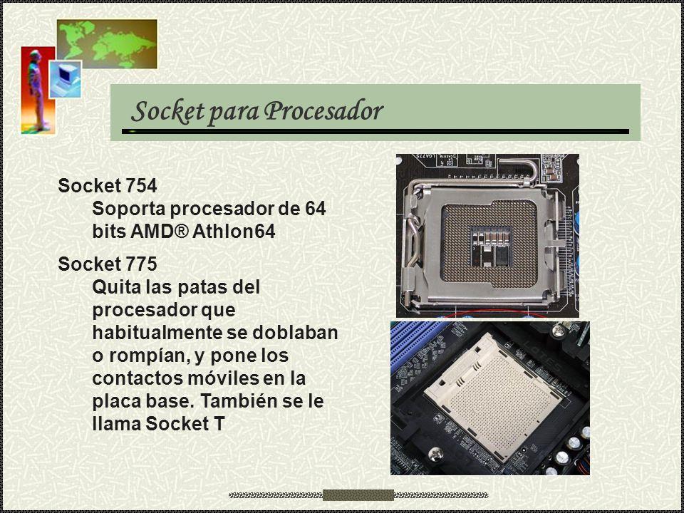 Socket para Procesador Socket 754 Soporta procesador de 64 bits AMD® Athlon64 Socket 775 Quita las patas del procesador que habitualmente se doblaban