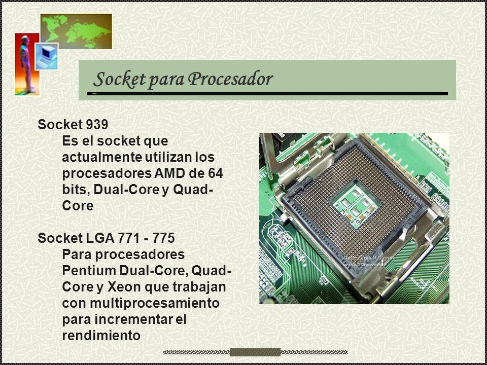Socket para Procesador Socket 939 Es el socket que actualmente utilizan los procesadores AMD de 64 bits, Dual-Core y Quad- Core Socket LGA 771 - 775 P