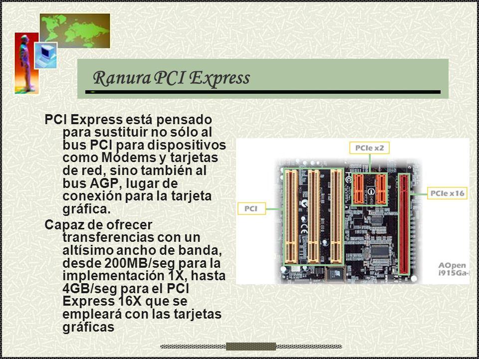 Ranura PCI Express PCI Express está pensado para sustituir no sólo al bus PCI para dispositivos como Módems y tarjetas de red, sino también al bus AGP