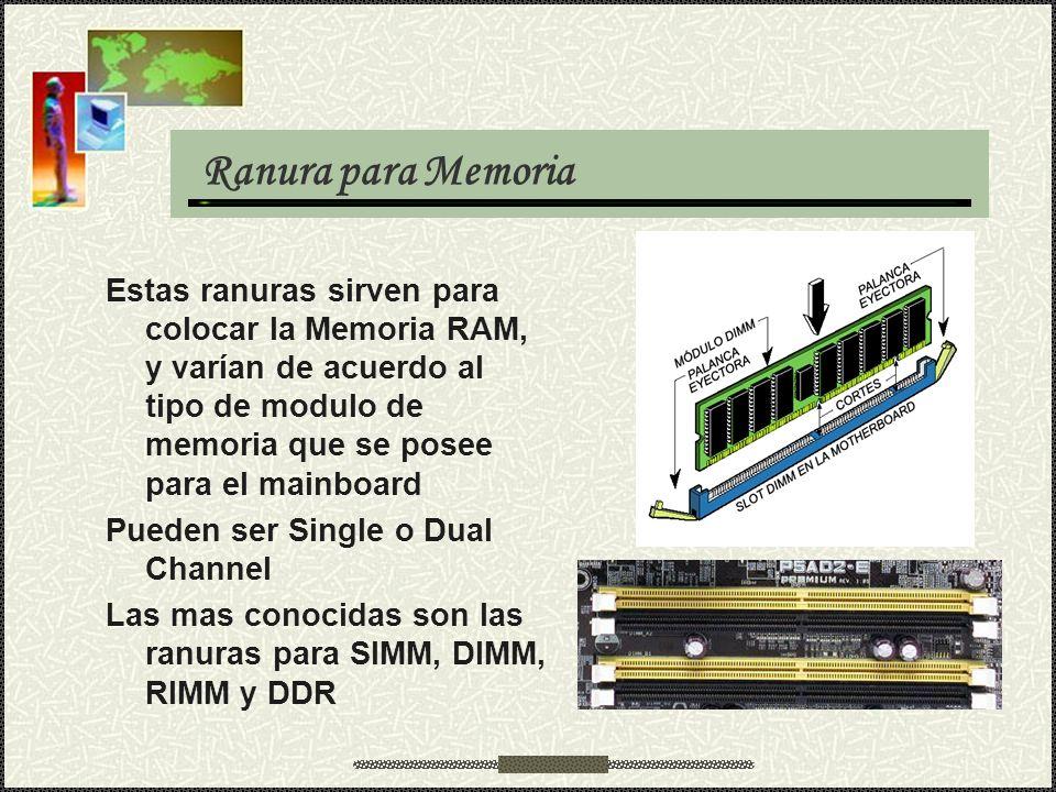 Ranura para Memoria Estas ranuras sirven para colocar la Memoria RAM, y varían de acuerdo al tipo de modulo de memoria que se posee para el mainboard