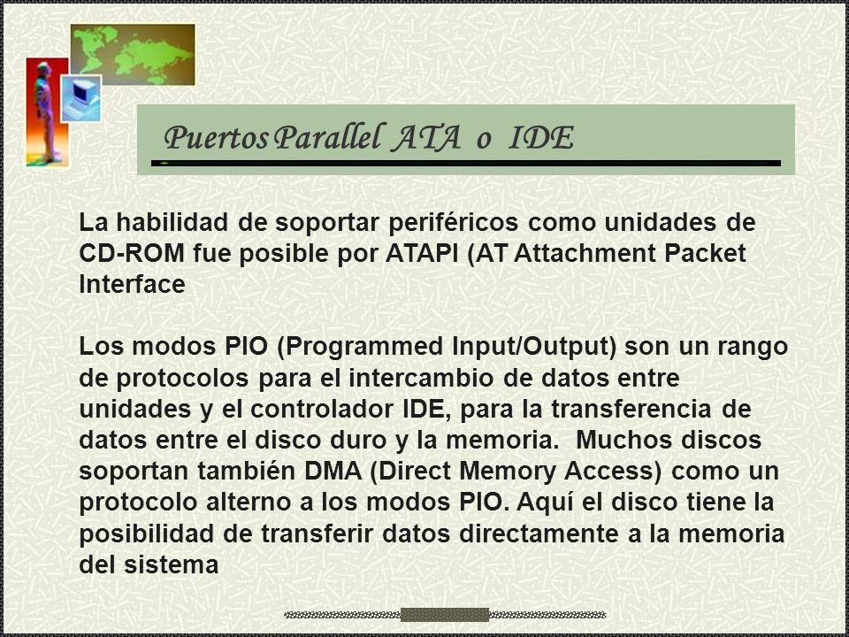 Puertos Parallel ATA o IDE La habilidad de soportar periféricos como unidades de CD-ROM fue posible por ATAPI (AT Attachment Packet Interface Los modo